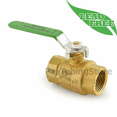 "1"" NPT Threaded Lead-Free Brass Ball Valve, Full Port, 600psi WOG"