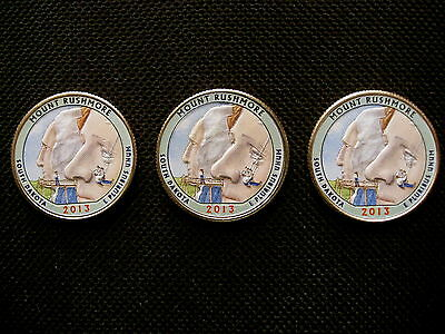 2013 Colorized  Mount Rushmore National Park Quarters - P, D, S Mint(3 coins)