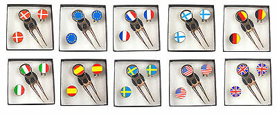 Pitch Repairer, Hat Clip and International Flag Ball Marker Gift Set