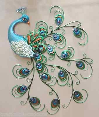 """Pretty Peacock Wall Decor Hanging Metal Sculpture Art Large Colorful Bird 30"""""""