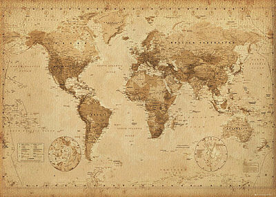 World Map Poster LAMINATED Vintage Antique Style 100x140cm Giant Wall Chart NEW