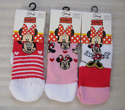 Young Girls MINNIE MOUSE socks in 3 Designs and 3 Sizes