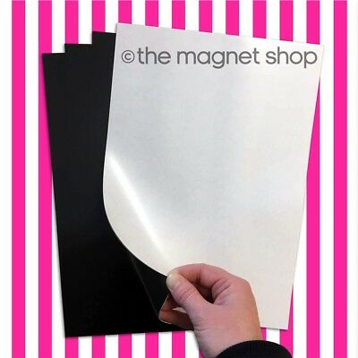 4 A4 Self Adhesive Magnetic Sheets 0.85mm Extra Sticky, Strong Flexible Car Sign