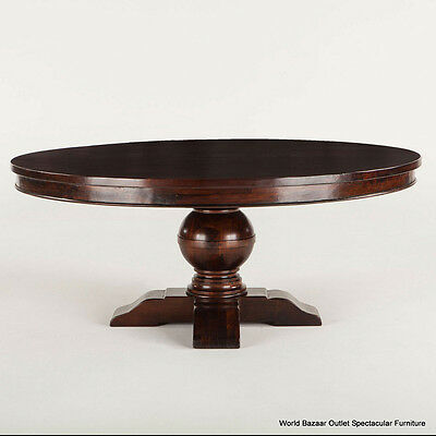 "84"" Round Dining Table Solid reclaimed Mango Wood Carved Pedestal handmade"