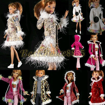 1pcs Barbie Doll Fashion Handmade Long Winter Clothes Hoodie Coat Outwear Outfit