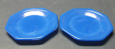 VINTAGE AKRO AGATE LOT OF 2 BLUE GLASS SAUCERS 4 1/4""