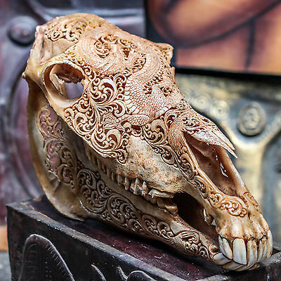 REAL HAND CARVED HORSE SKULL w DRAGON DESIGN Taxidermy antlers Mule Animal Mount