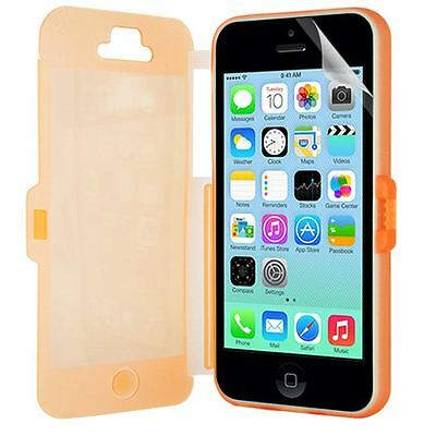 FOR APPLE iPhone 5C ORANGE FRONT AND CLEAR  BACK CASE COVER+SCREEN FILM