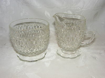 Vintage Glass Open Sugar and Footed Creamer Set Diamond Point Pattern