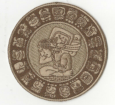"""Genuine 100% Embroidered 2012 Doomsday Calendar 4"""" Mayan Zodiac Circle Patch"""