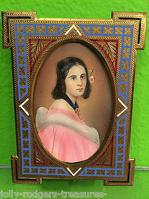 Antique French 19c Champleve Enamel/Bronze Picture Frame & Painted Miniature