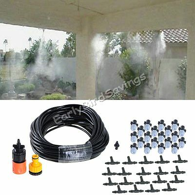 """20m 66"""" 20pcs Nozzles Garden Patio Water Misting Cooling System Sprinkler Nozzle"""