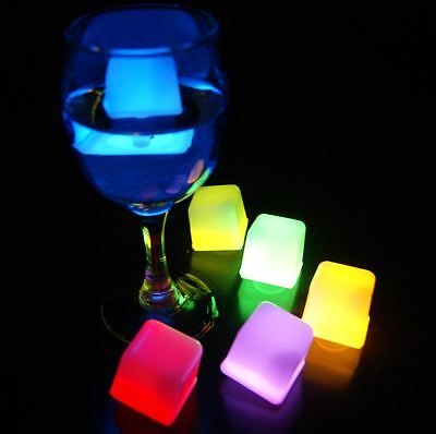 "Lots 24 Pcs Glow Light Ice cube Party Favor Fun 6 colors 1.2"" AK263"
