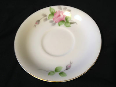 ROSSETTI CHICAGO USA HAND PAINTED SAUCER ROSE WITH GOLD TRIM, MADE IN JAPAN