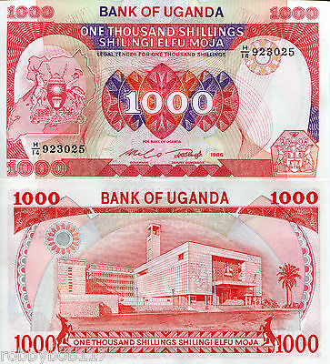 UGANDA 1000 shillings Banknote World Currency Money AFRICA BILL p26 1986 Note