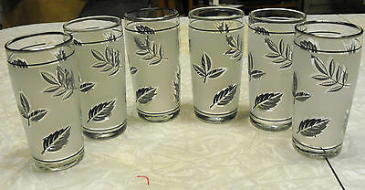 """VINTAGE 6 LIBBEY GLASS 50'S JUICE GLASSES CLEAR FROSTED W/ SILVER LEAVES TRIM 4"""""""