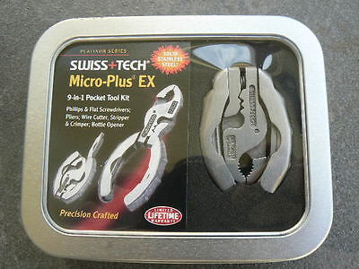 SWISS+TECH Micro-Plus® EX 9-in-1 Pocket Multi Tool Kit Pliers 50026 In Gift Tin