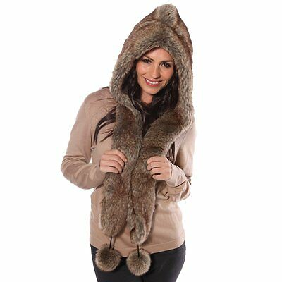 Ladies Warm Winter Luxury Faux Fur Hood Hooded Scarf 3 Colours One Size