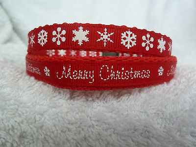 Red Merry Christmas or Snowflakes Small Dog Puppy Collar 10mm or 13mm Wide Xmas
