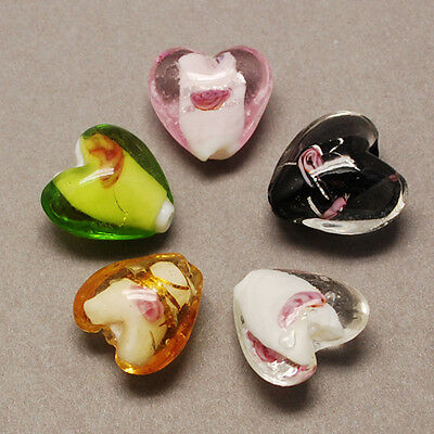 5 pcs Mixed Colour 15mm Lampwork Glass Heart Beads -L107