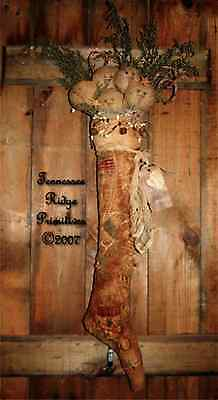 Primitive Pattern Christmas Quilt stocking w/ snowman & candy canes Greeter