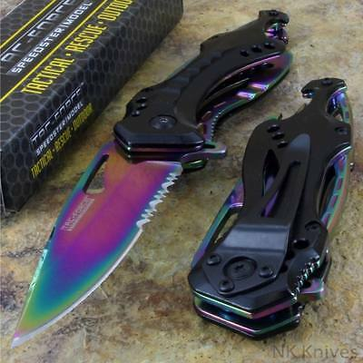 Tac-Force Spring Assisted Rainbow Spectrum Tactical Rescue Pocket Knife New!!