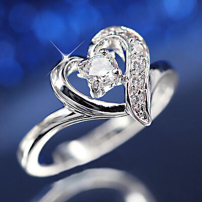 9K White Gold Gf R272 Love Heart Lab Diamonds Wedding Engagement Lady Solid Ring