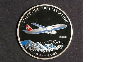 2002 Congo Silver Color Proof 500 fr Airplane A-300