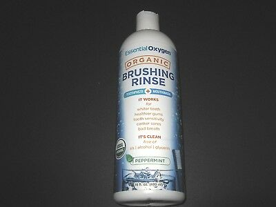1 x 473ml ESSENTIAL OXYGEN Brushing Rinse ( Toothpaste + Mouthwash /Peppermint )