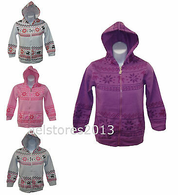 New Girls Hoodie Aztec Reindeer Print White Grey Pink Purple Age 3 - 14 years