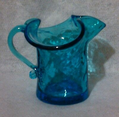 "Beautiful Blue Crackle glass creamer, excellent condition, 3"" tall, great gift."