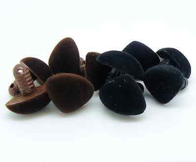 9 - 24mm Black Flocked Teddy Bear Noses Plastic Safety Noses with Plastic Washer