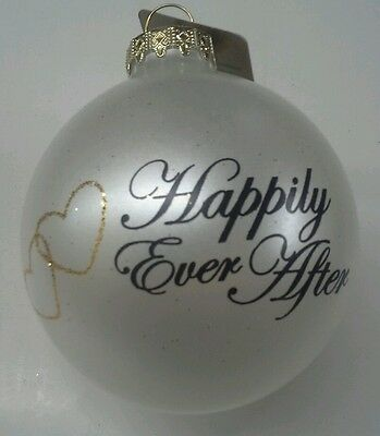 """'Happily Ever After' Christmas Ornament  3"""" Glass Marriage Wedding"""