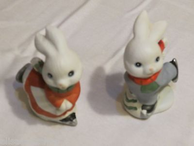Homco skating bunnies 5305 ice winter Christmas Holiday figures