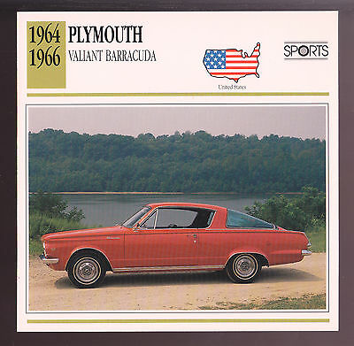 1964 1965 1966 Plymouth Valiant Barracuda Car Photo Spec Sheet Info Stat CARD