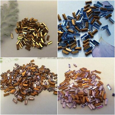 24 x Swarovski 5.0mm x 2.5mm Montana gold-foiled #4500 baguettes