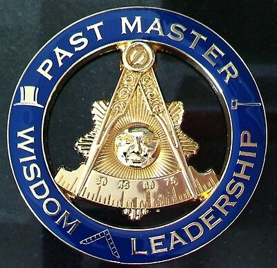 MASONIC PAST MASTER WITH ATTRIBUTES CUT OUT AUTO EMBLEM