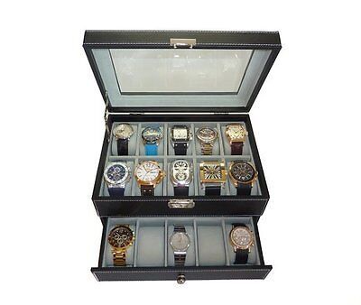 20 Black Leather Large Watch Display Case Collector Storage Organizer Mens Gift