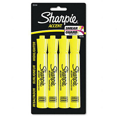 Sharpie Accent Tank Style Highlighter Chisel Point Fluorescent Yellow Ink 4/Pack