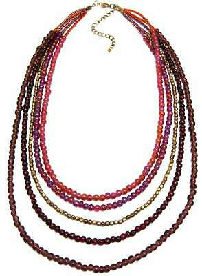 Goose Island 5 Strand Red/Plum Necklace