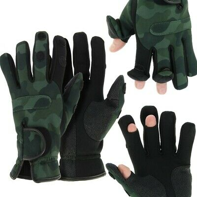 NEW NGT Neoprene Fishing Camo Gloves Folding Fingers Shooting Hunting M L XL