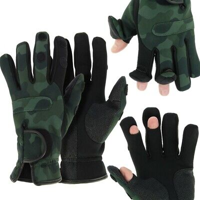 NEW NGT Neoprene Fishing Green Gloves Folding Fingers Shooting Hunting M L XL