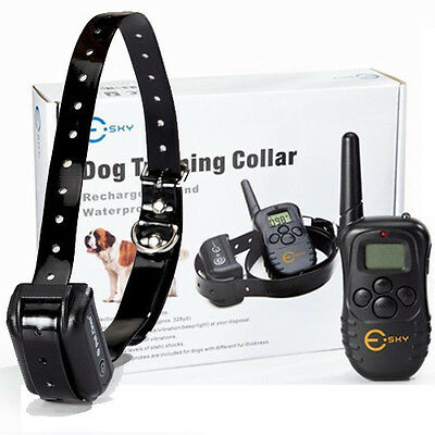 New Esky 300M Range Rechargeable LCD Remote Shock Control Dog Training Collar