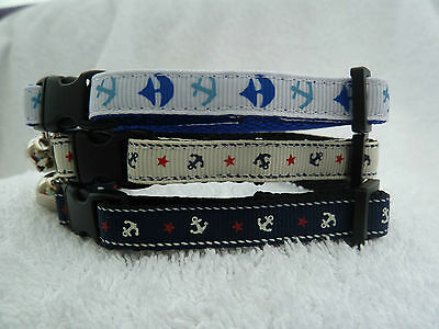 Anchor Nautical Sea Cat Kitten Safety Collar With Bell