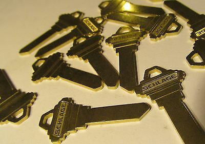 10 New Genuine Schlage C604-433 Coined Brass 6-Pin Straight Blank Keys