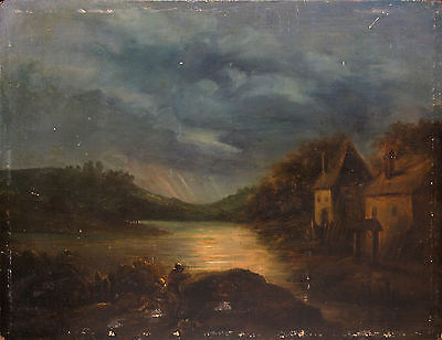 MOUCHERON-Antique Dutch Oil Painting on Wood Panel- c. 18th-19th Century