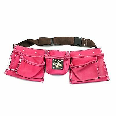 9 Pocket Tool Belt Pouch - Heavy Duty Suede Leather Bag Pink
