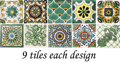 "SPECIAL 90 Mexican Tiles Ceramic Talavera Clay 4""x4"" Tile diferent designs #268"