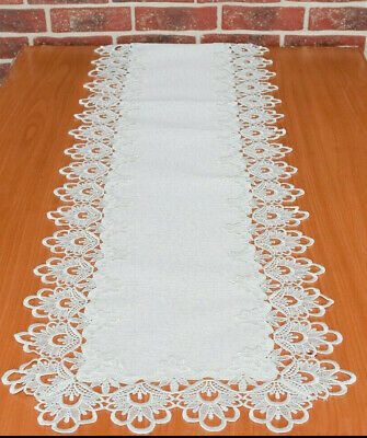 Long lace rectangular white cream table runner victorian style wedding decor