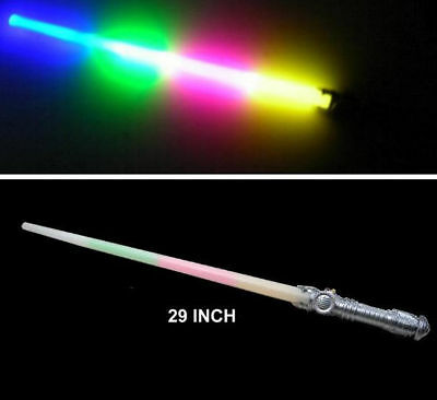4 RAINBOW LED SABER SWORDS light up kids play toy gift bright novelty sword NEW